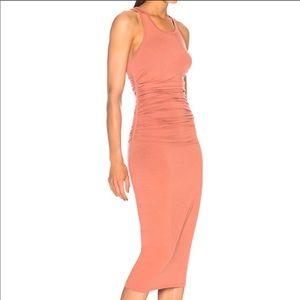 🎁Christmas ENZA COSTA Orange ruched midi dress